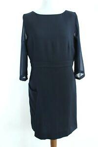 cop.copine BNWT RRP 189 Navy Blue 3/4 Sleeve Round Neck Dress Size 42 EU XL