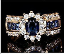 Size12 Men's fashion 18k yellow gold filled Sapphire white zircon Wedding Ring
