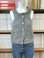 JOSEPH S UK 8 10 Cardigan Knit Top Wool Alpaca Waistcoat Grey Cropped US 4 6