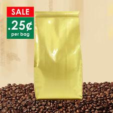 100 Gold Coffee Bags 500g No valve Large bulk foil side gusset beans sacks