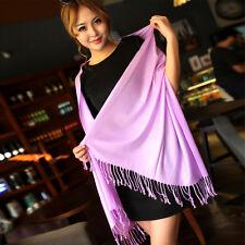 Women Girl Cashmere Wool Blend Scarf Tassel Long Pashmina Large Shawl Silk Wraps