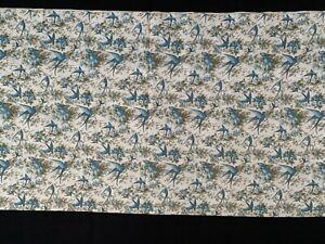 "4 yds NOS Vintage 20's 30's Feedsack Fabric Blue Birds Beige material 29"" x 144"""