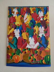 African Market Scene Canvas Unframed Colourful Colours Wall Art 103.5x73cm Large