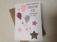 Handmade personalised birthday card- Teenager  13th,14th,15th,16th,17th.....Girl