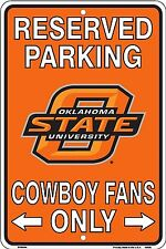 """Reserved Parking Oklahoma State Cowboy Fans Only 8"""" x 12"""" Embossed Metal Sign"""