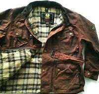 HOT Men BELSTAFF GOLD @ BIKER WAXED Cotton PLAID LINED DARK BROWN COAT JACKET XL