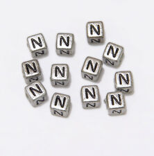 "6mm Silver Metallic Alphabet Beads Black Letter ""N"" 100pc"