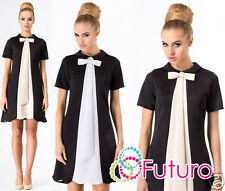 Ladies Cocktail Shift Dress With Bow & Collar Short Sleeve Tunic Size 8-14 FA374