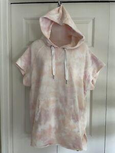 CALVIN KLEIN Womens Pink Tie Dye Short Sleeve Hooded Sweater Plus Size: 1X