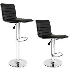 2x Tabourets de bar chaise fauteuil bistrot réglable pivotant siège design noir