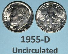 US Roosevelt Dimes 1955-D Uncirculated Price per Each Coin issued year 1955