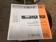 Carver Ct25.1 Preamplifier Owners Manual ~ Bob Carver