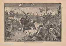 Charge For Glory & Earth's Applause-1889 ANTIQUE VINTAGE PRINT-Knight-Horse-War