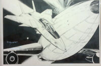 "RICK BRYANT original signed inked 1976 Spaceship magazine illustration 11""x14"""