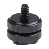 1/4 inch dual nut tripod mount screw to flash camera hot shoe adapter