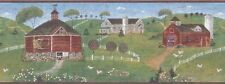 Brewster Country Barns with Chickens (Burgundy) Wallpaper Border - 265B05828