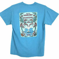 National Shrimp Festival 2013 Tee T-Shirt Mens M Medium Blue Green Short Sleeve