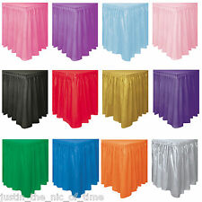 Plastic TABLESKIRTS Table Skirt Party Catering Wedding Tableware 21 COLOURS