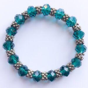 Edwardian Inspired Pewter Deep Emerald Green Glass Beaded Elasticated Bracelet