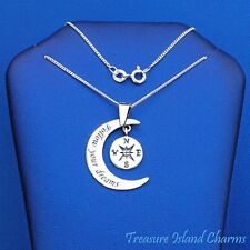 "FOLLOW YOUR DREAMS MOON AND COMPASS PENDANT 925 Sterling Silver Necklace 16"" 18"""