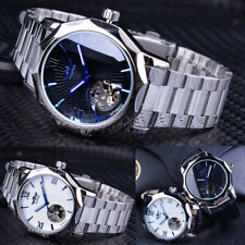 Mens Blue Ocean Geometry Design Transparent Skeleton Dial Watch Mechanical Watch