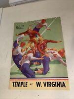 Temple Vs West Virginia October 19 1945 Football Program WVU Philadelphia