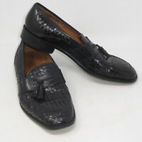 Fratelli Made in ITALY Black Leather Weave Loafers Sz 12 M Tassel Slip On Shoe