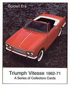 TRIUMPH VITESSE (1962-71) Collectors Card Set - 1600 12/50 2-litre MkI MkII Cars