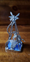 Fine Pewter Dragon in a cage w/ Quartz Crystal Cluster & Silver Fairy on top