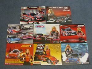 9 DIFFERENT NHRA HANDOUTS/ POSTCARDS/COURTNEY FORCE 12'- 18'