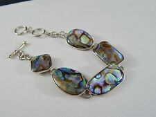 "Happy 925 Sterling Silver Mother of Pearl  Abalone Toggle Bracelet 8"" Iridescent"