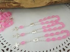 50pc Mini Rosary PINK/silver plated Frosted/Baptism Favor/RECUERDOS DE BAUTIZO