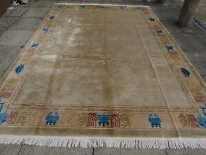 Antique Hand Made Art Deco Chinese Oriental Beige Brown Wool Carpet 353x249cm