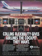 10/1988 PUB ROCKWELL COLLINS AVIONICS BOEING 747-400 AIRLINER ORIGINAL AD