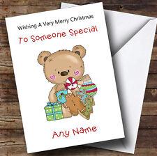Dibujos Animados Oso Adornos de Navidad Tarjeta de Navidad personalizado de los niños