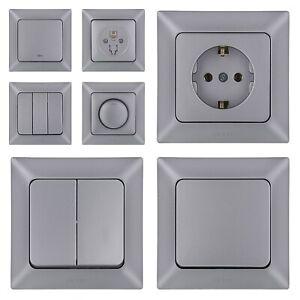 Silber Steckdose-Steckdosen-Schalter-Lichtschalter-Wechselschalter,Dimmer Taster