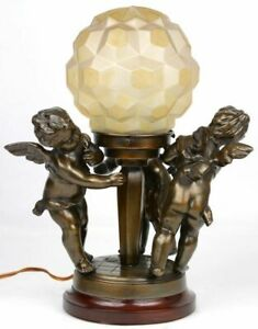 Belgian ART DECO 1930 bronze putti playing table lamp