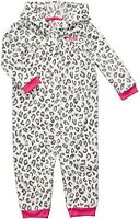 NWT CARTER'S GIRLS GRAY LEOPARD HOODED 1pc COVERALL 3M 6M 9M 18M 24M