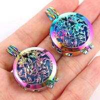 2PC Rainbow Flower Pad Locket Pendant For DIY Essential Oil Diffuser Necklace