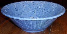 "Bordallo Pinheiro Blue 12"" Ceramic Serving Bowl - Basket Weave & Grapevine"