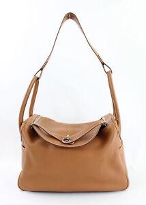 Hermes Authentic Gold Tan Clemence Lindy 34 CM Handbag Shoulder Bag