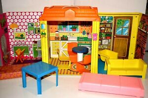 Vintage Barbie Country Living Home Folding Vinyl Doll House 1970's w/ Furniture