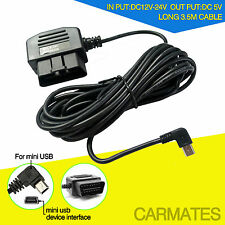 12/24V Mini-USB Car OBD Power Charging Cable DVR Recorder GPS 24h Packing
