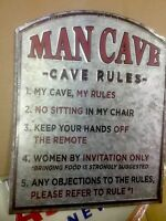 MAN CAVE RULES TIN  WALL SIGN DECOR. Fun to Display any where.