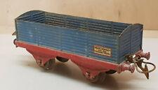 Ancien jouet wagon marchandise bleu/rouge ech O train SNCF serie Hornby meccano