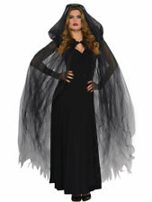 LADIES BLACK TEMPTRESS HOODED CAPE HALLOWEEN FANCY DRESS COSTUME OUTFIT WITCH