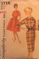 Vtg 50s 60s Slim or Full Skirt Dress Pattern Simplicity 3718  size 13 bust 34