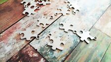 10 Puzzle Piece Charms Pendants Stamping Blank Autism Awareness Antiqued Silver
