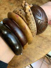 Vintage Lot Of 5 Wooden Bracelet Bangles