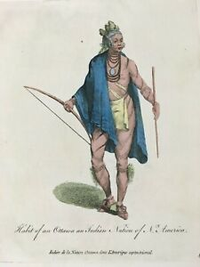 1772 Odawa NATIVE AMERICAN Hand Colored Print by Thomas Jefferys Ottowa